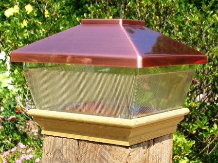 "Copper Top Solar LED Light  6"" x 6"" Post Caps for Bridges, Fences, Decks, & Posts"