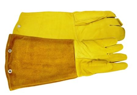 Tough Elk Hide Maxima Animal Handling Gloves with Padded Top-Grain Gauntlet for Max Bite Protection LARGE