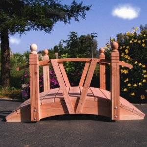V Series Hand Made Natural 100% Redwood Bridges For Gardens, Paths, & Ponds