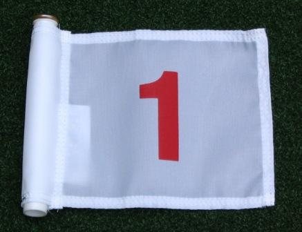 "Red Numbered - White Jr. (8"" L x 6"" H ) Marker Flags For Golf & Putting Green Applications"