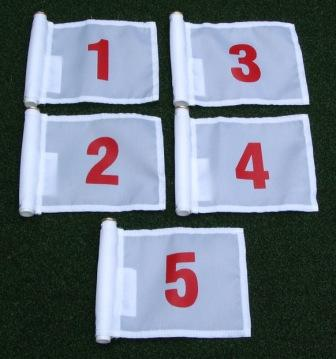 White flag with Red Numbers