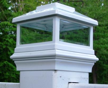 "White Solar LED Post Light Cap ( for true 5"" x 5"" posts) on Bridges, Fences, Decks, & Posts"