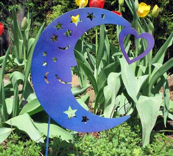 "Blue Moon Garden Stake (14.5"" x 15"") - Hand Crafted Metal Garden Art Decor"
