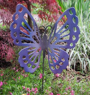 "Butterfly Garden Stake (12"" x 12"")  - Hand Crafted Metal Garden Art Decor"