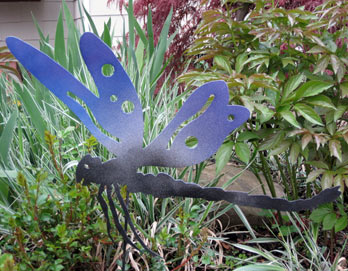 Large Dragon Fly Garden Stake - Hand Crafted Metal Garden Art Decor