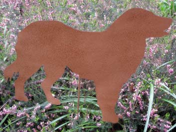 "Golden Retriever Garden Stake (22"" x 15.5"") - Hand Crafted Metal Garden Art Decor"