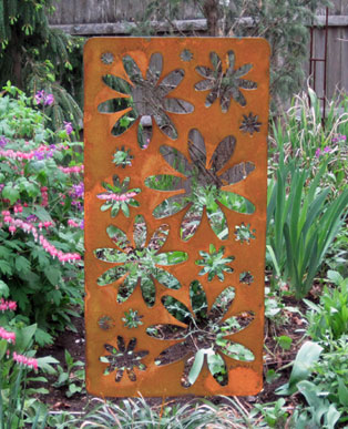 Large Rustic Accent Screen Garden Stake - Hand Crafted Metal Garden Art Decor
