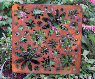 Rustic Accent Screen Garden Stake - Hand Crafted Metal Garden Art Decor