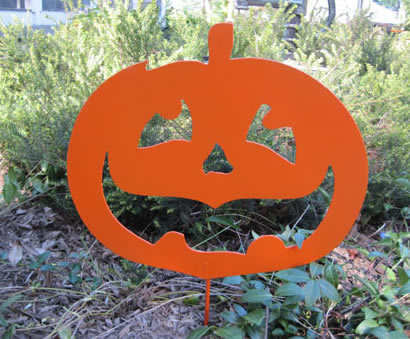 "Small Happy Pumpkin Garden Stake (11"" x 12.5"")  - Hand Crafted Metal Garden Art Decor"