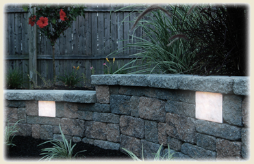 "Kerr Lighting 12 Volt 6"" x 8"" Retaining Wall Lights & Kits For  6"" Thick Modular Wall Systems THUMBNAIL"