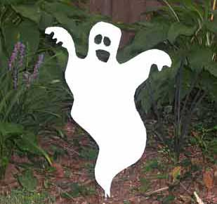"Large Ghost Garden Stake (26"" x 38"")  - Hand Crafted Metal Garden Art Decor"