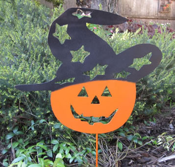 "Magic Jack-O-Lantern Garden Stake (22.5"" x 15.5"") - Hand Crafted Metal Garden Art Decor"