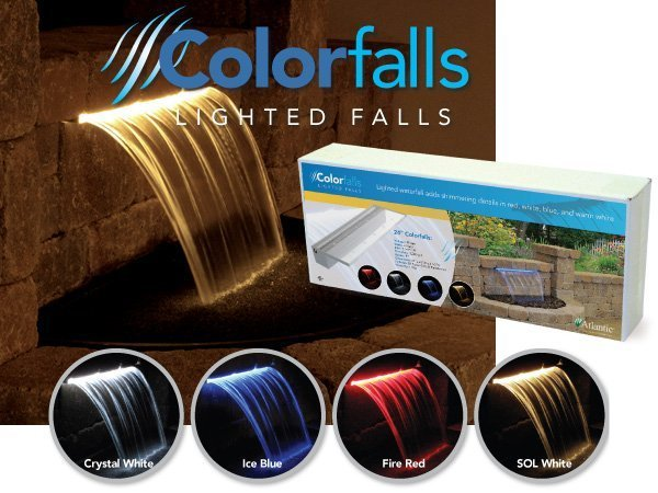 Colorfalls - Waterfall Weir & LED w/Transformer by Atlantic Water Gardens LARGE