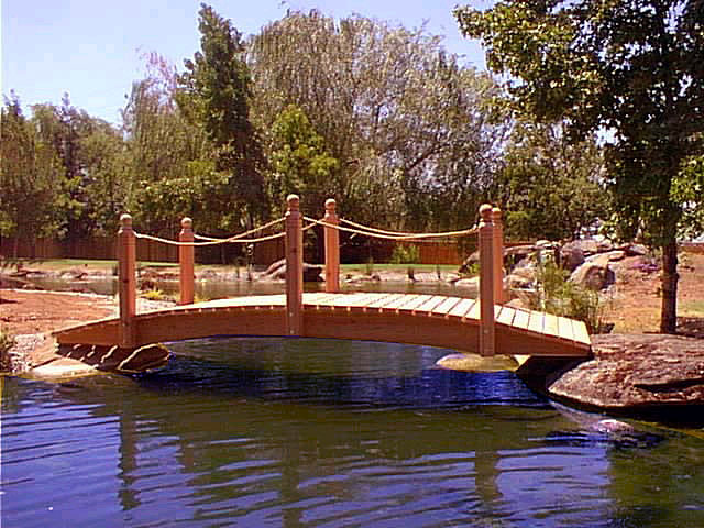 12 ft Span Hand Made Natural 100% Redwood Bridges For Gardens, Paths, & Ponds THUMBNAIL