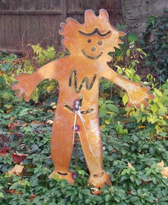 "Rustic Metal Scarecrow Garden Stake (28"" x 37"")  - Hand Crafted Metal Garden Art Decor THUMBNAIL"