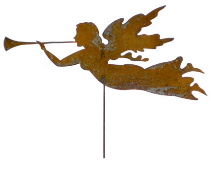 Rustic Angle Garden Stake Hand Crafted Metal Garden Art