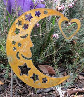 Small Rustic Moon Garden Stake - Hand Crafted Metal Garden Art Decor