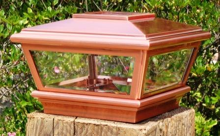"Copper Top Solar LED Light 5"" x 5"" Post Caps for Bridges, Fences, Decks, & Posts"