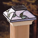 "Solar LED Tiffany-Style ""Delicate Leaf"" Light 4"" x 4"" Post Caps for Bridges, Fences, Decks, & Posts"