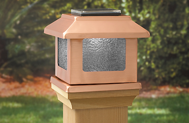 "Convertible Solar LED Light 4"" x 4"" Solid Copper Square Post Caps for Bridges, Fences, Deck"