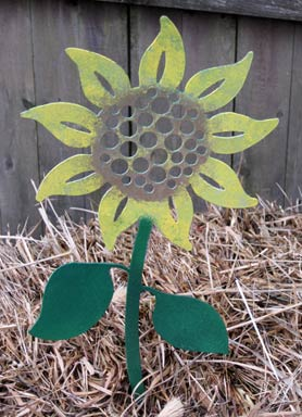 Sunflower Garden Stake - Hand Crafted Metal Garden Art Decor