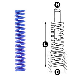 photo and drawing of danly blue round wire die spring