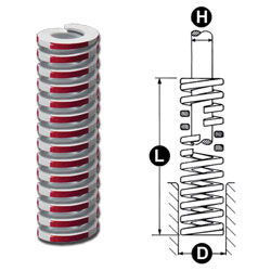 photo and drawing of lamina red die spring