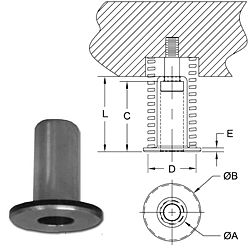 photo and drawing of spring retainer spool