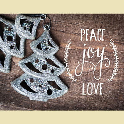 Light Box Insert - Christmas Trees Peace Joy & Love
