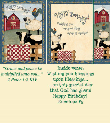 Birthday Bookmark Card - Farm Animals LARGE