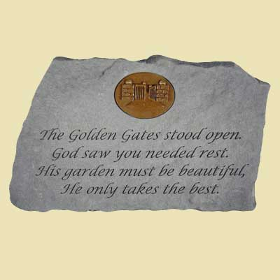 The gold gates... Garden Accent with bronze symbol