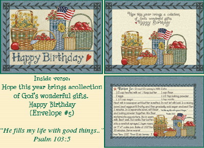 Recipe Birthday Card - Baskets w/Flag