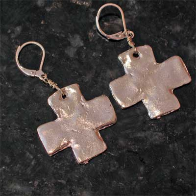 Handcast Silver Cross Earrings