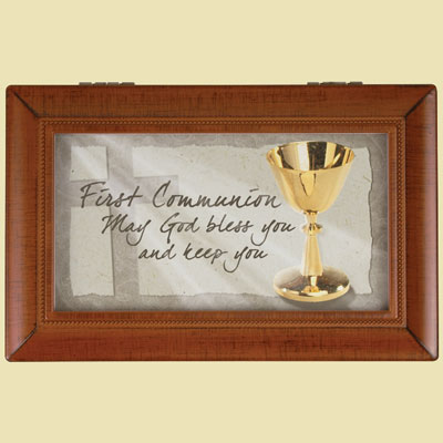 "First Communion Music Box Plays ""Amazing Grace"""