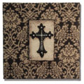 "10"" x 10"" Burlap Plaque with Cross THUMBNAIL"