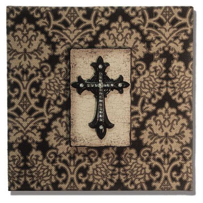 "10"" x 10"" Burlap Plaque with Cross"