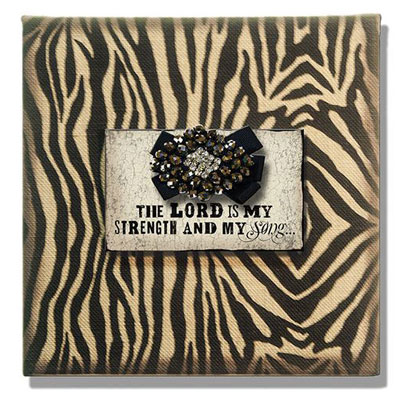 "10"" x 10"" Zebra Print on Burlap with ""The Lord is My Strength"" LARGE"
