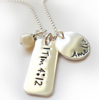 Scripture Tag with Name Disc and Mother of Pearl LARGE