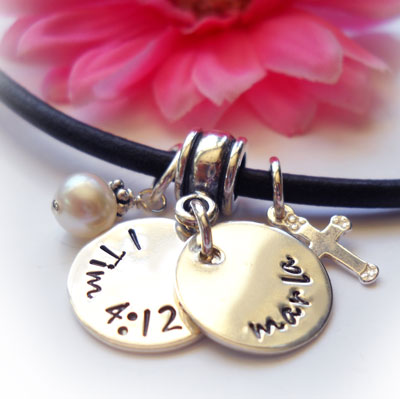 Double Disc Personalized Purity Necklace on Leather with Cross LARGE