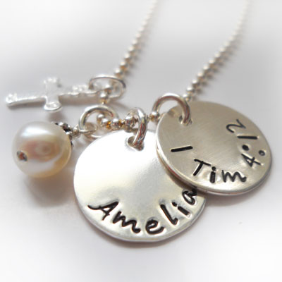Double Small Disc Personalized Necklace LARGE