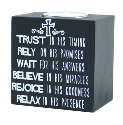 3x3 Doodle Candle - Trust in His Timing LARGE