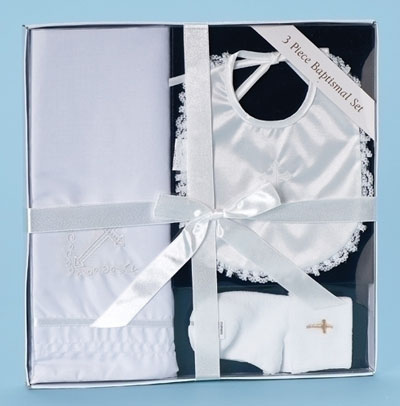 Baptism 3 Piece Set - Blanket, Bib & Socks LARGE