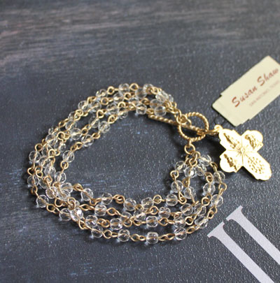 Handcast Gold Cross with Muli-Row Crystal Linkage Bracelet