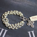 Handcast Silver Cross with Muli-Row Pearl Linkage Bracelet