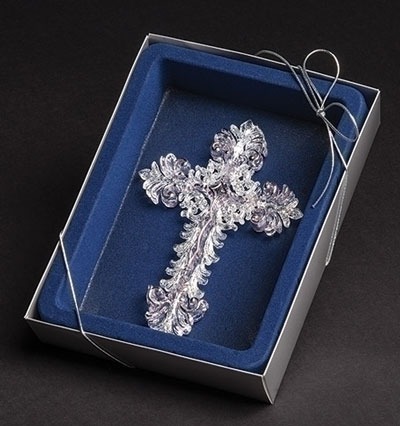 Clear Acrylic Cross Ornament in Blue Lined Box
