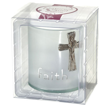 Faith Cross Frosted Tealight Holder LARGE