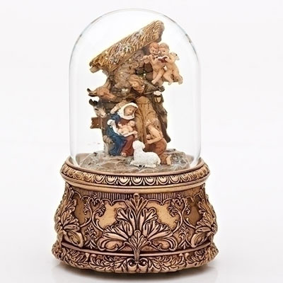 "6.5"" Holy Family Musical Glitterdome - Plays Joy to the World"
