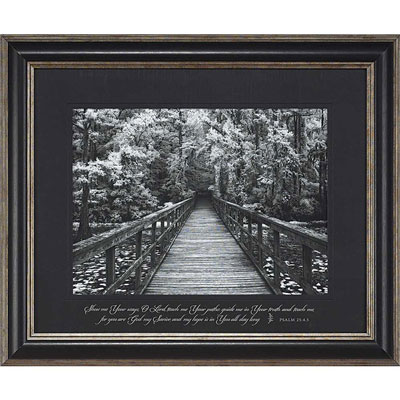 Psalm 25:4,5 Christian Framed Wall Art with Classic Pewter Finish Frame