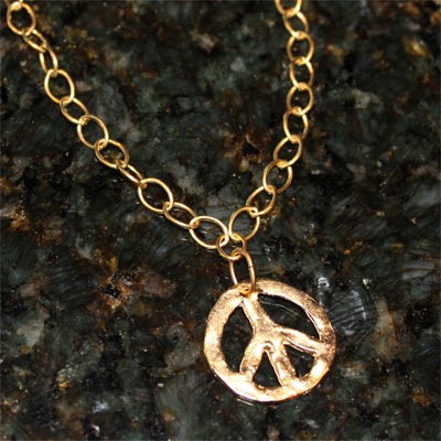 Handcast Gold Peace Sign Necklace LARGE