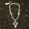Handcast Silver Open Cross Necklace with Pearl_THUMBNAIL